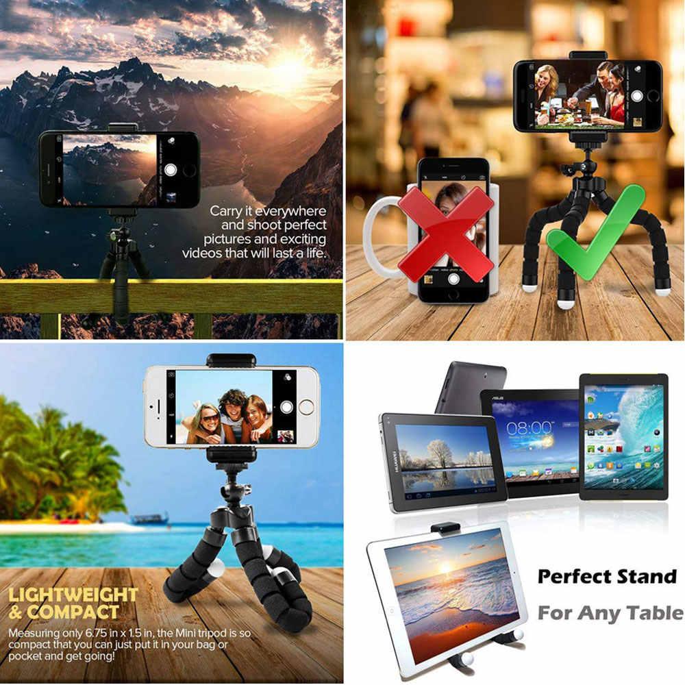 Bluetooth Remote Mini Fleksibel Spons Gurita Tripod untuk Olahraga Kamera Aksi Video Portabel Ponsel Berdiri untuk iPhone X IOS
