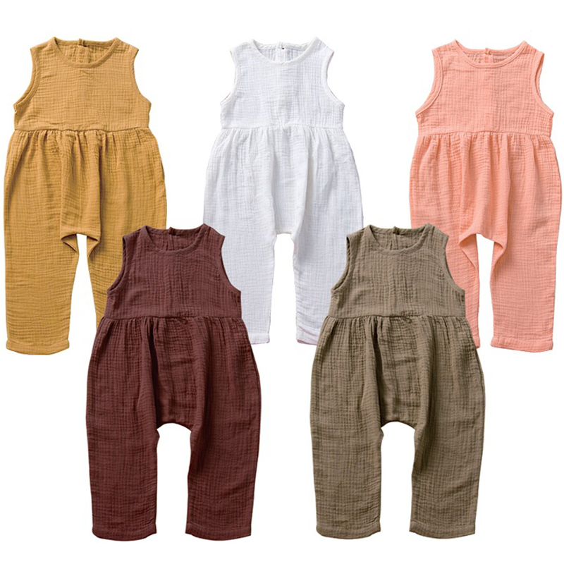 2020 Spring New Children Girls Jumpsuits Cotton Linen PP Pants For Kids Sleeveless Toddler Girls Soft Summer Girls Trousers 1-6Y