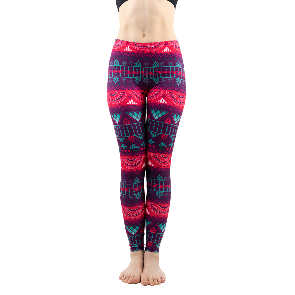 Trend Sexy Red Stripe Pattern Fashion Women Leggings Elasticity Fitness Slim Bottoms Workout Pants