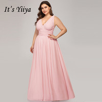 It's Yiiya Bridesmaid Dress for Girls Plus Size V neck Vestido Madrinha Elegant Chiffon Sleeveless Wedding Party Dresses C434