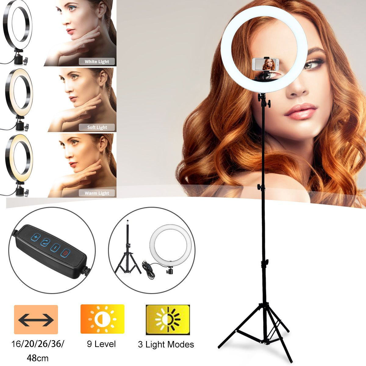 LED <font><b>Ring</b></font> <font><b>Light</b></font> <font><b>16</b></font>/20/26/36/48cm Dimmable Selfie <font><b>Ring</b></font> Lamp Photographic Lighting Video Live <font><b>Light</b></font> For Makeup Video Live Studio image