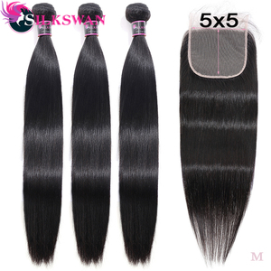 Black Pearl Pre-Colored 3 Bundles with Closure Straight Human Hair Bundles with Closure Brazilian Hair Weave Bundles Remy Hair(China)