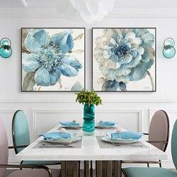 EECAMAIL 5D diamenty malowane diamenty haftowane niebieskie kwiaty tryptyk restauracja naklejki diament Cross Stitch Home Decor