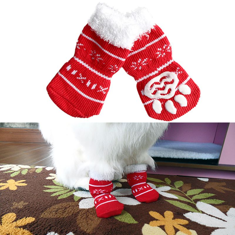 Dog Christmas Socks Small font b Pet b font Dog Doggy Shoes Lovely Soft Warm Knitted