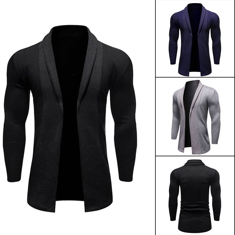 Mens Solid Color Sweaters Cardigan Laple Neck Mens Knit Sweaters Skinny Long Sleeve Street Style Mens Clothing