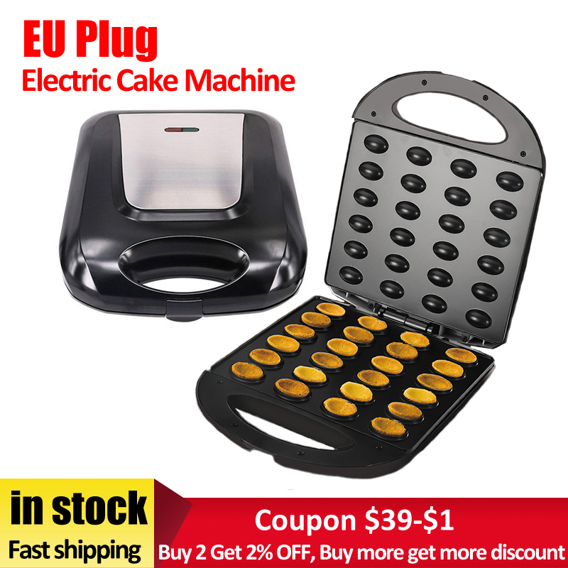EU Plug Electric Walnut Cake Maker Automatic Mini Nut Waffle Bread Machine Baking Breakfast Pan Oven 1400W Egg Cake Oven Pan(China)