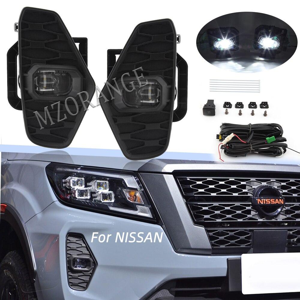 1 set LED DRL Nebel Lichter für Nissan NAVARA Nueva Facelift Pro-4X 2021 Nebel Licht Spot Licht Nebel Lampe Abdeckung grill Harness Schalter