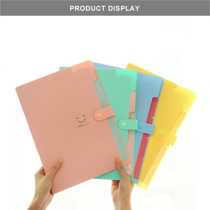 Student Folder Candy Color A4 Document Organizer 5 Pockets A4 Kawaii File Folders For School  ZCX-0001