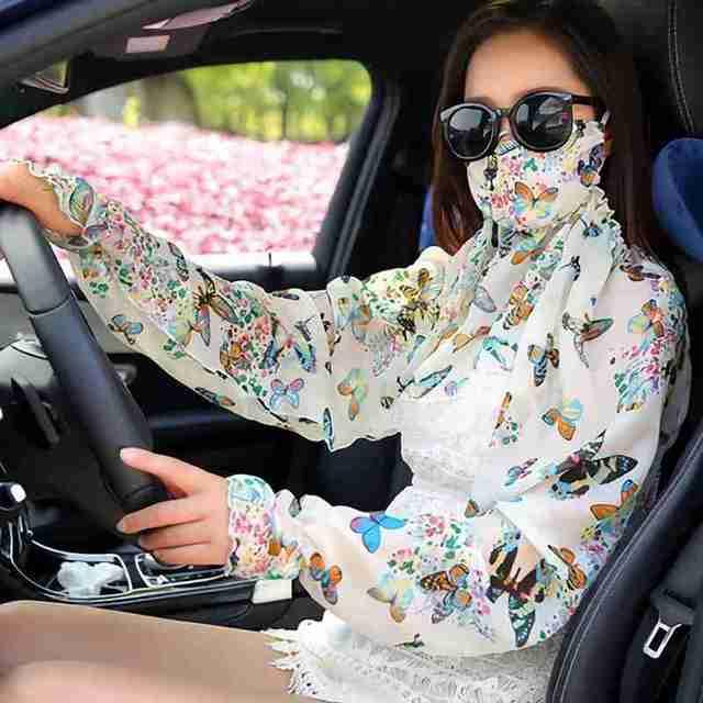 Masque mousseline de soie manches longues bras   Foulard femme, nouveau été extérieur Ride plage, imprimé Floral protection solaire, masques Anti-uv, châle en soie