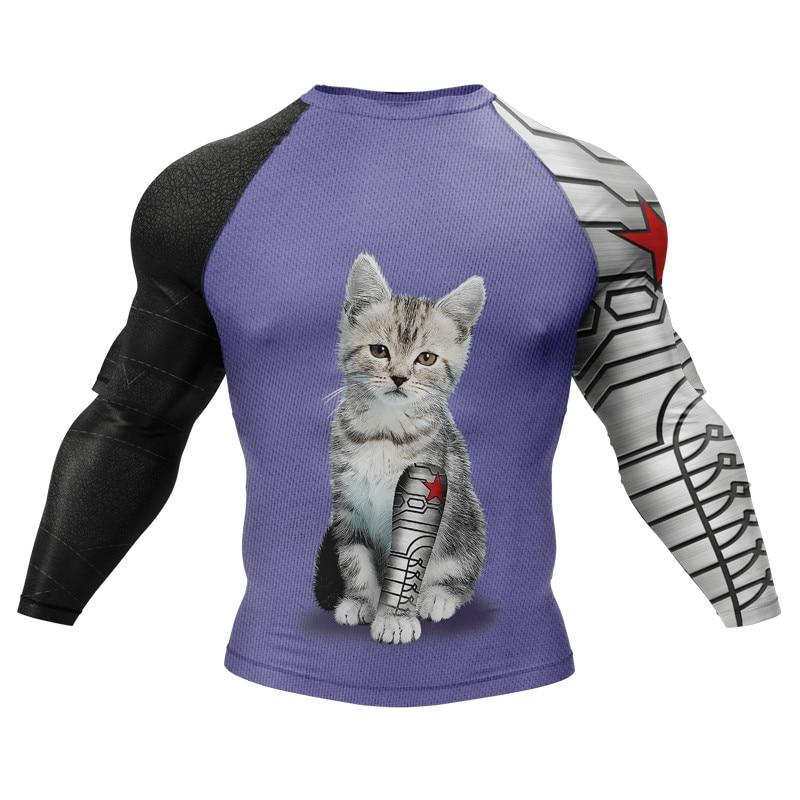 Boy Men Cute Cats Sublimated Printing Fitness Tee Tops 3D Design Animals Pets MMA BJJ Muay Thai No Gi Wear|T-Shirts|   - AliExpress