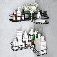 Schlag Kostenloser Ecke Rahmen mit Saugnapf Schmiedeeisen Badezimmer Regal Dusche Caddy Lagerung Rack WC Zubehör Shampoo Halter
