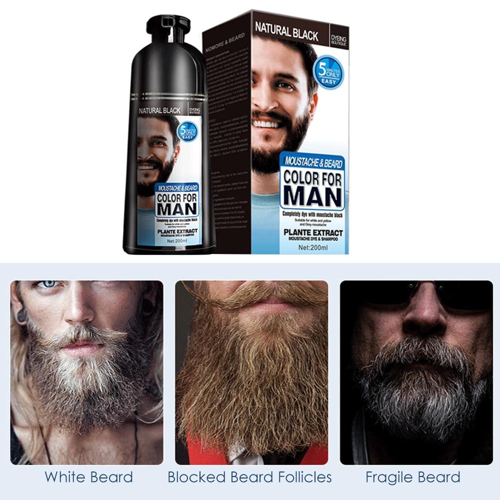 natural long lasting 200ml permanent beard dye shampoo for men beard dying removal white grey beard hair men beard dye shampoo 6