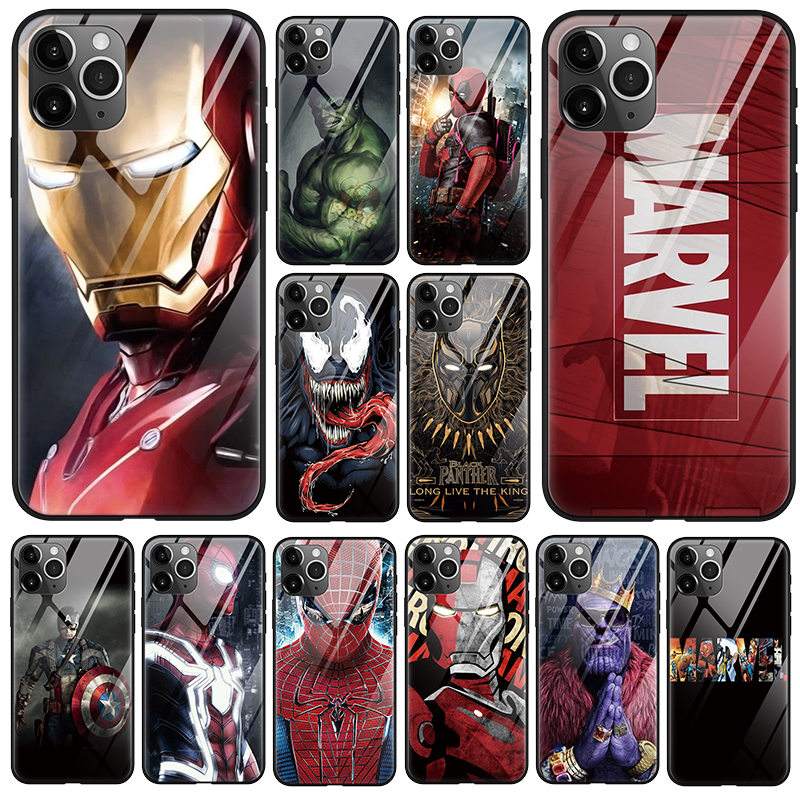 Luxury <font><b>Marvel</b></font> Comics Patterned Venom Tempered Glass Material <font><b>Phone</b></font> <font><b>Case</b></font> For iPhone 11 Pro X XS MAX XR SE 2020 8 7 6 S Plus Coque image