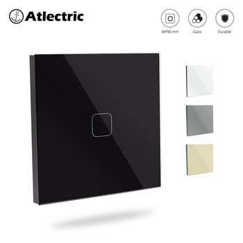 Atlectric Sensor Touch Switch Crystal Glass Panel Wall Light Switches EU Standard 1/2/3 gang 1Way Switch With LED Back Light touch switch black pearl crystal glass panel switch digital light switches wall switch uk standard