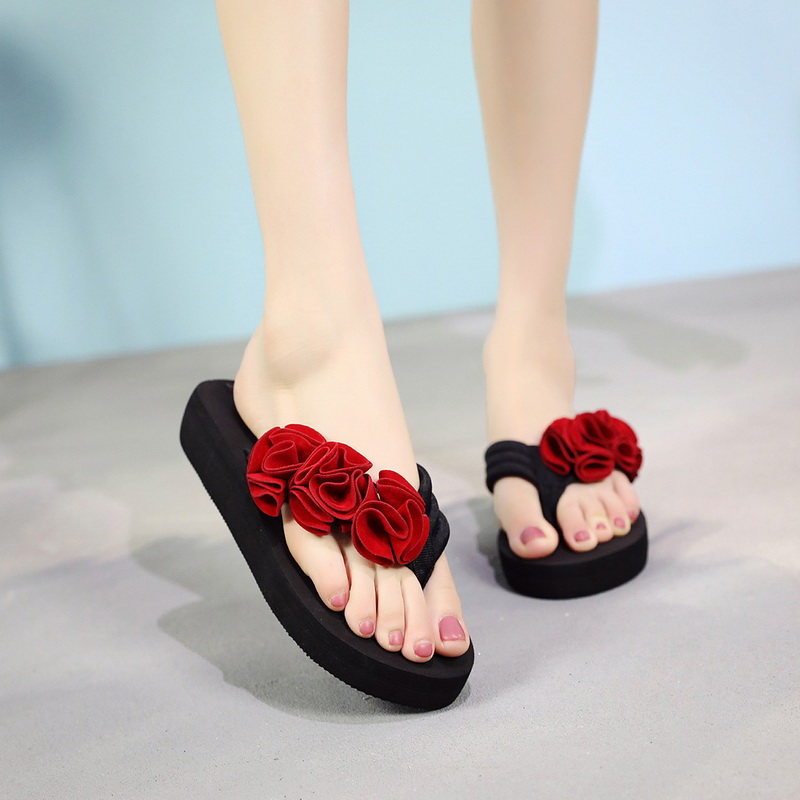 2020 New Women Flower Clip Toe Beach Sandals Fasten Paltform Slippers Flops Beach Shoes Fashion Female Casual Flower Slippers