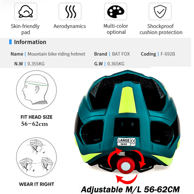 Batfox capacete de bicicleta preto fosco, capacete de ciclismo mtb mountain bike, tampa interna, capacete da bicicleta 6