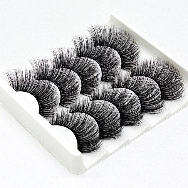 5 pairs of 3D false eyelashes handmade soft mink eyelashes natural thick long eyelashes makeup extension eyelash tool 1
