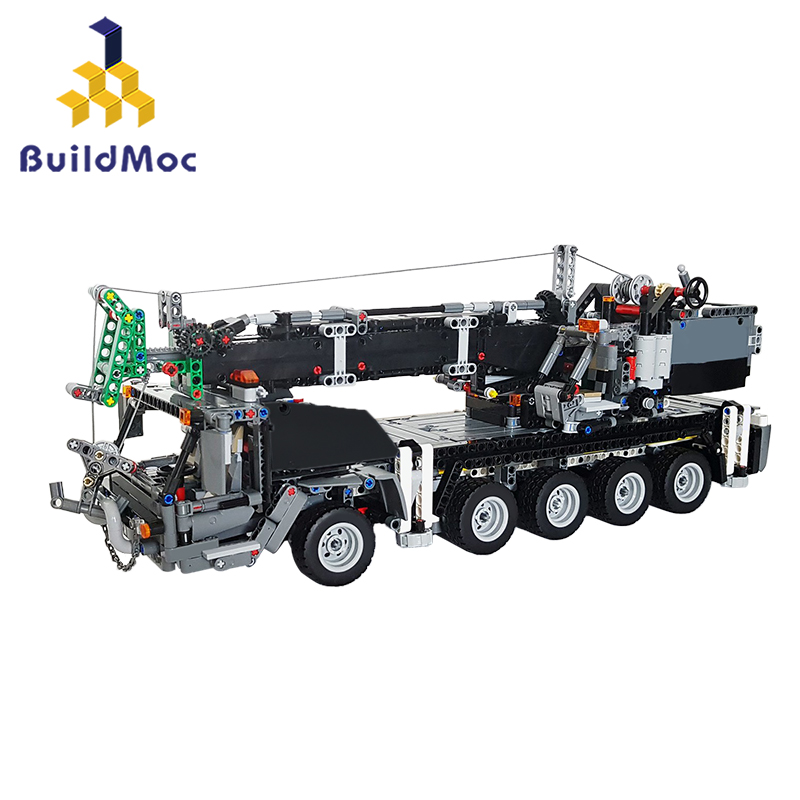 BuildMoc Control Technic Car Compatible With Lepining <font><b>42009</b></font> Mobile Crane MK II truck Set Building Blocks Kid Christmas Toys Gift image