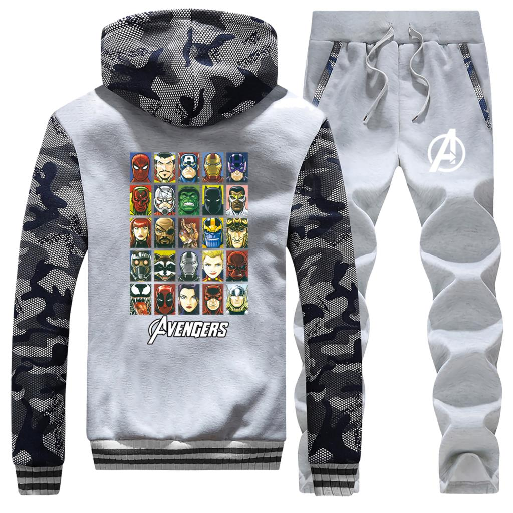 Marvel Winter Fashion Men's Camouflage Hoodie Super Hero Coat Thick Caartoon Sportswear Warm Jakcet+Pants 2Pcs Set Clothing