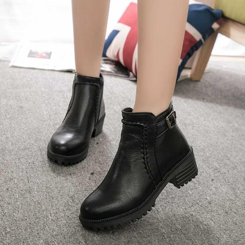 Artı boyutu yuvarlak ayak martin botas marka tasarım toka ön zip yarım çizmeler kadın kış tüm maç tıknaz kaymaz dikiş patik