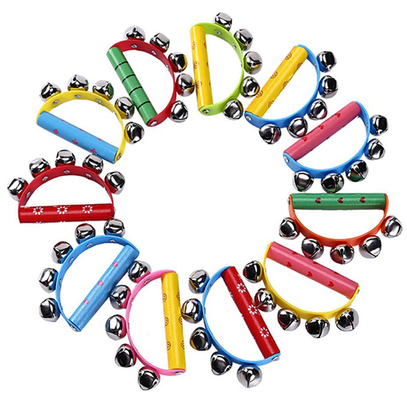 10Pcs Vivid Color Jingle Bells Sleigh Bells Instrument On Wooden Handle For Baby Kids Children Musical Toys