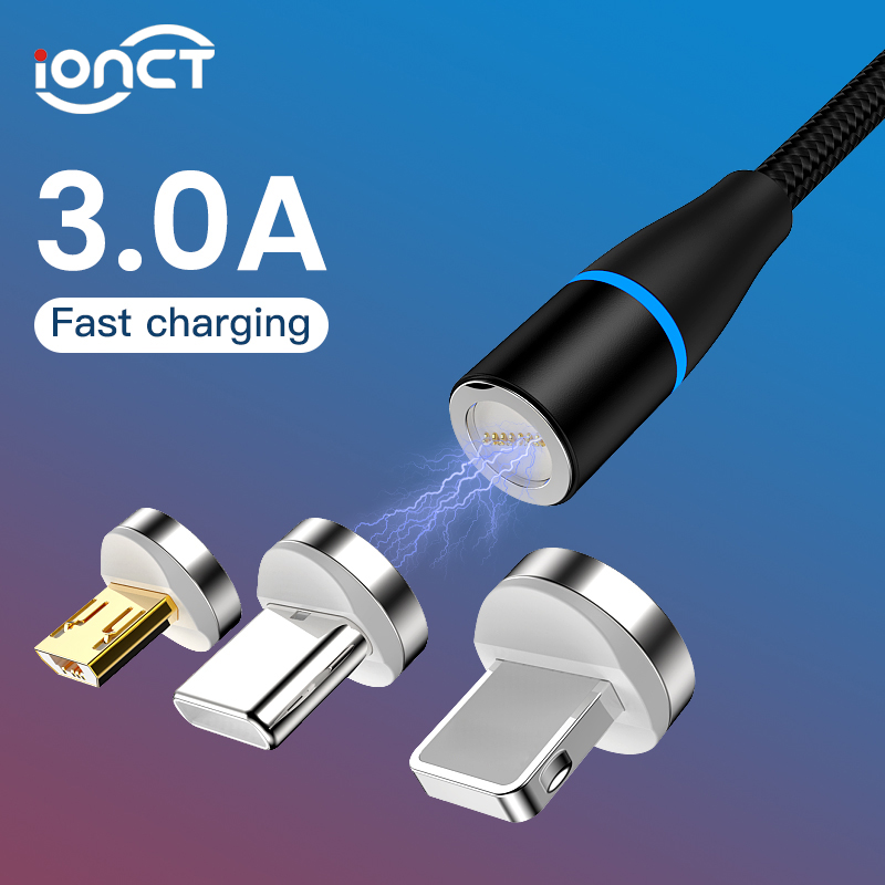 iONCT <font><b>3A</b></font> Fast Magnetic <font><b>Cable</b></font> for iPhone Samsung Android mobile phone Type C <font><b>Cable</b></font> Magnet charger Micro USB C data <font><b>Cable</b></font> EC789 image