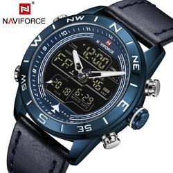 NAVIFORCE Casual sport zegarek kwarcowy mężczyźni podwójny wyświetlacz kalendarz wielofunkcyjne analogowe cyfrowe męskie zegarki TOP marka ekskluzywny zegarek w Zegarki kwarcowe od Zegarki na