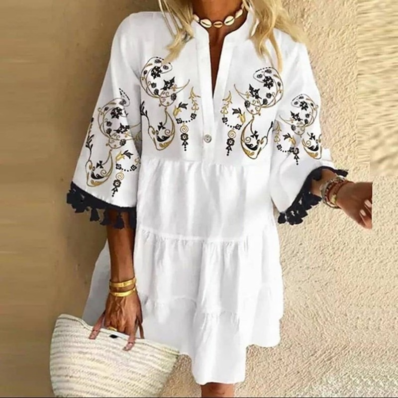 Fashion Tassel Sleeve Women Dress V Neck Lady Patchwork Dress Loose Casual Empire Knee Length Tassel Sleeve Dress