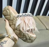 Carpaton Fashion Crystal Embellished Feather Sandal for Woman Sexy Open Toe Rope Braided Flat Platform Slippers Pink Black Shoes