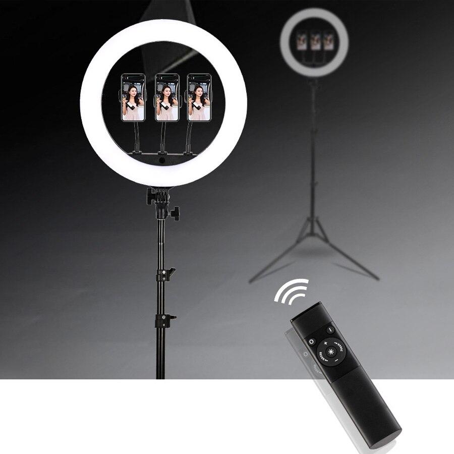 phone Photographic Lighting 18 inch 3200K-5600K 512 Led Ring Lamp Dimmable Camera Photo Studio Phone Makeup Ring Light Tripod