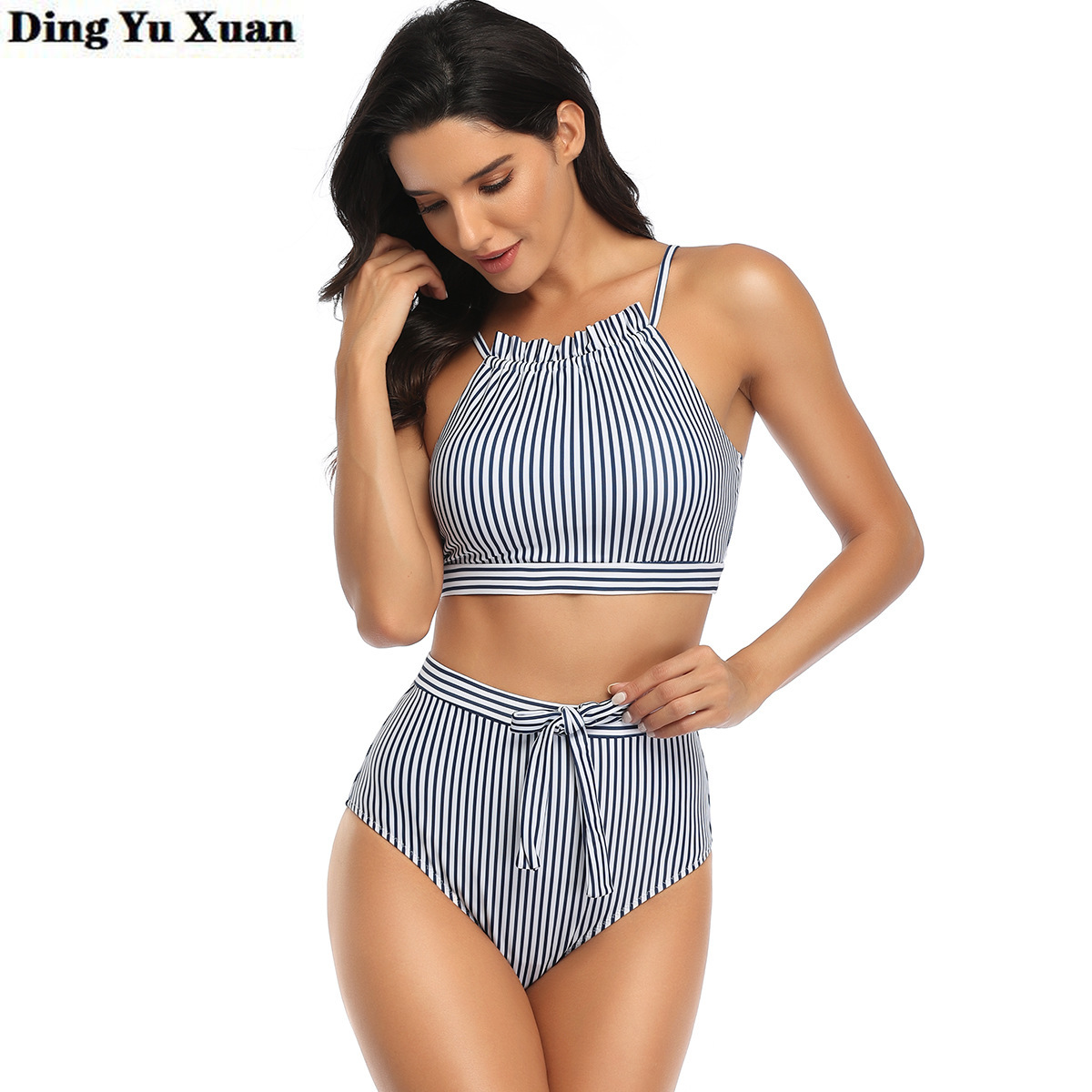 Blue Pink Striped Swimsuit Women 2 Two Pieces Sexy High Waisted Bikini Spaghetti Strap Top and Panty Set Swimming Bathing Suits 2
