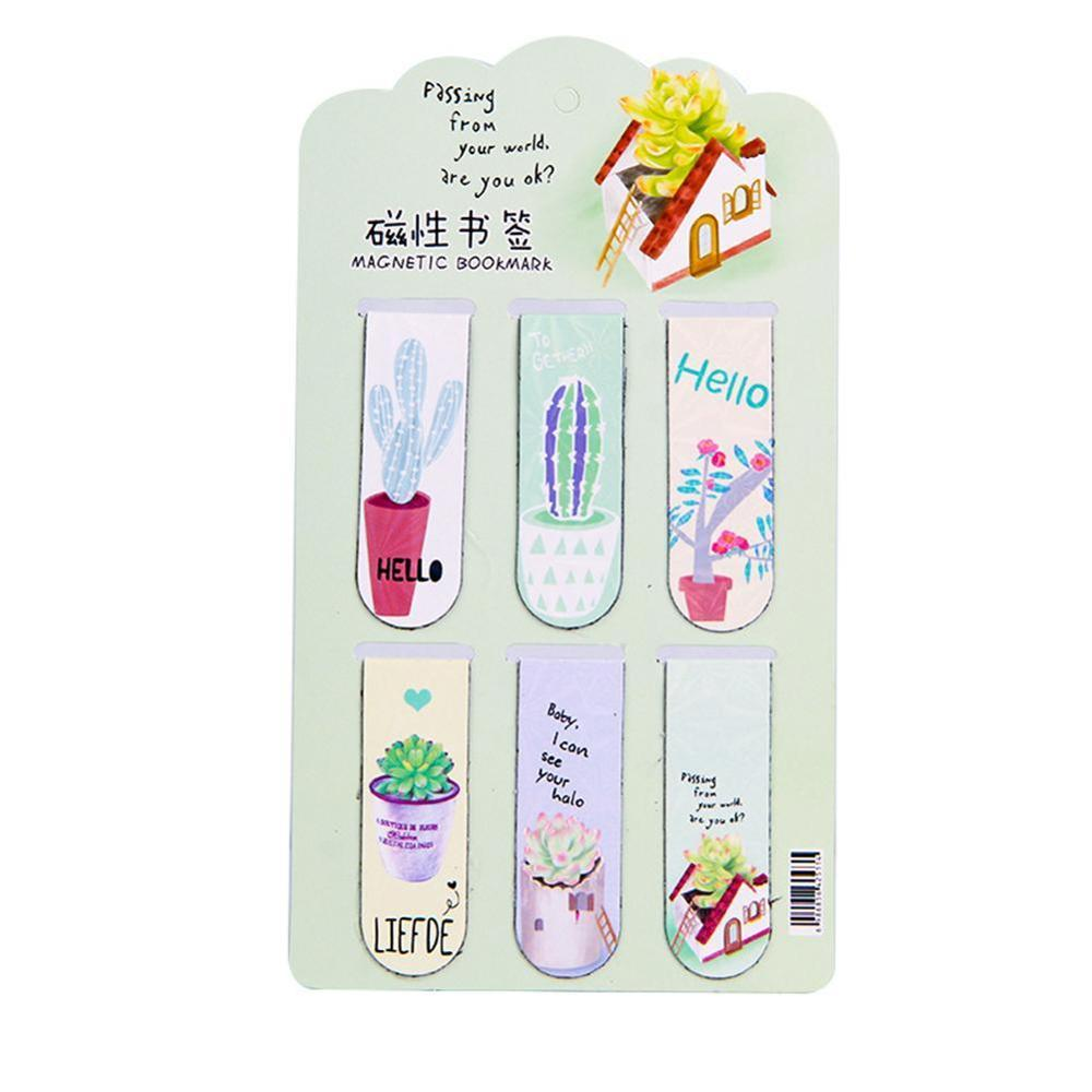 6pcs /Set Freshing Green Plants Succulent Cactus Magnetic Bookmarks Books Marker Of Page Stationery School Office Supply