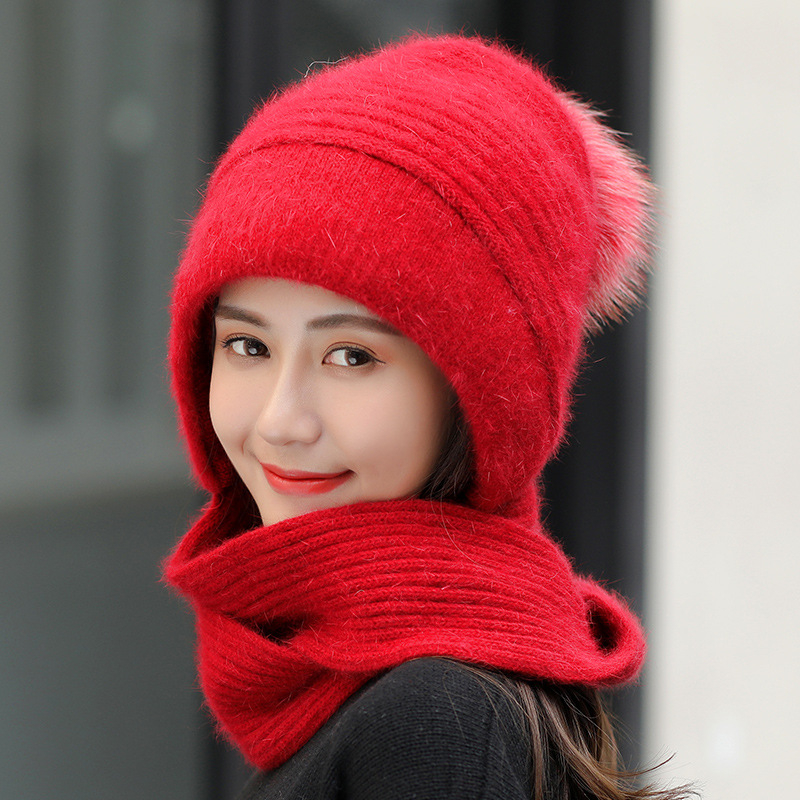 Women Brand New Wool Hats Together With Scarf Female Ear Protector Knit Skullies Beanies Hat Winter Warm Rabbit Fur Caps Bib