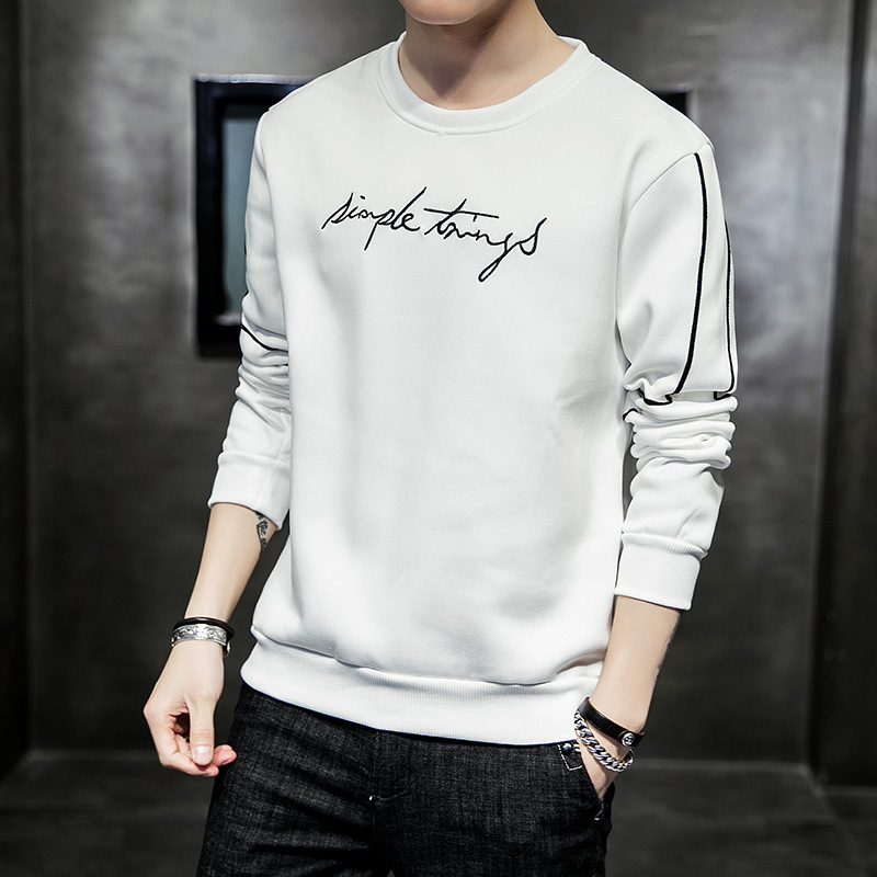 2019 Spring And Autumn New Style MEN'S Hoodie Teenager Trend Slim Fit Printed round Neck Sweater Men's Popular Brand Men'S Wear 3