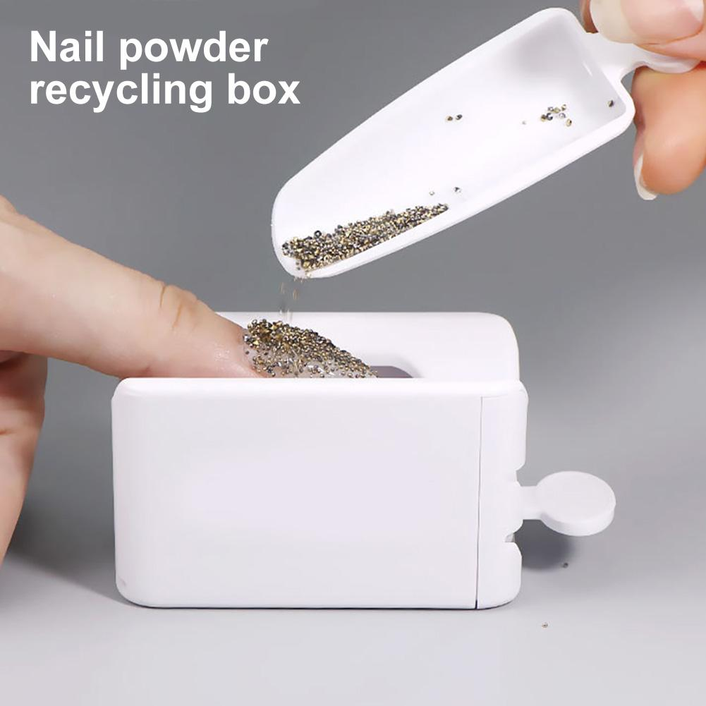 2020 Newest Portable Dipping Powder Magic Mirror Powder Recycling Tray White Nail Sequin Glitter Storage Box Manicure Tools(China)