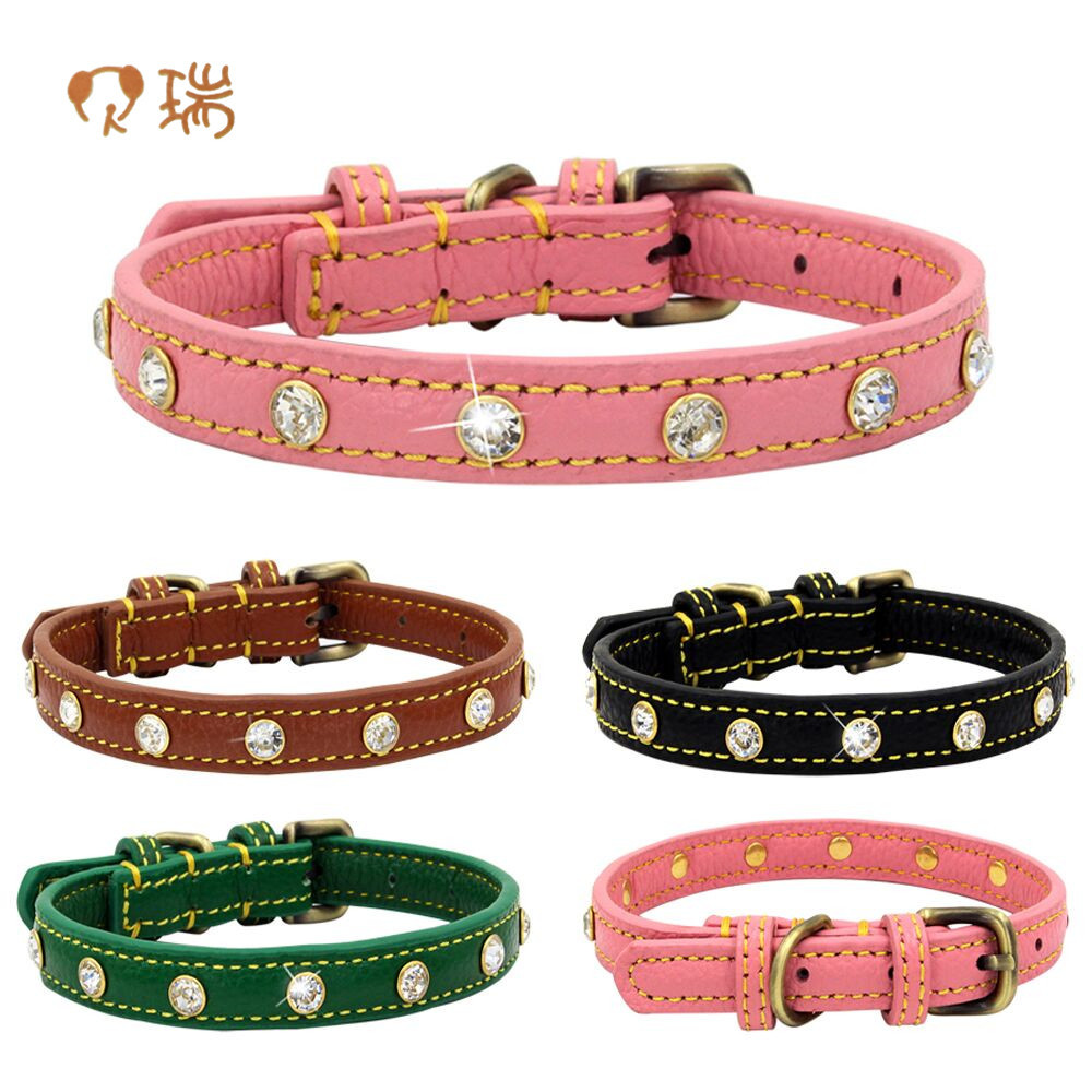 Berry New Style Genuine Leather Man-made Diamond Pet Collar Embossed Leather Cowhide Diamond Set Dog Neck Ring Small And Medium-