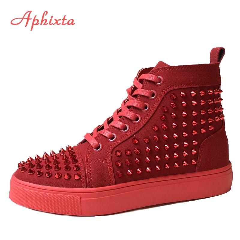 Aphixta Rivets Shoes Woman Couple Ankle Boots Flat Heel Platform Boots Women Big Size 44 Waterproof Motorcycle Boots Men & Women