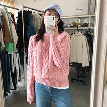 Женский свитер новинка Ретро стиль сплошной цвет круглый вырез