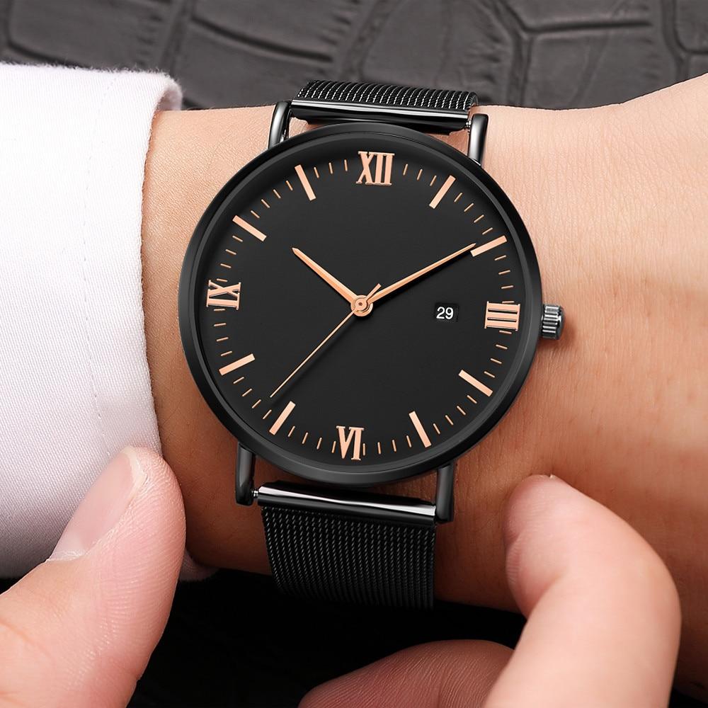 Men Watch Luxury Quartz Ultrathin Stainless Steel Dial Leather Band Wrist Watch Men Watches Relogio Masculino Montre Homme