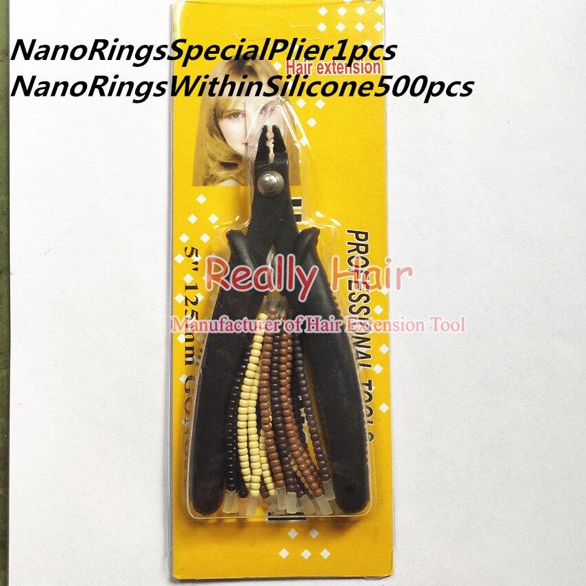Dix ensembles de NanoRings pratiques extension de cheveux (sans aiguille à crochet) NanoRingsWithinSilicone kits d'outils d'extension de cheveux