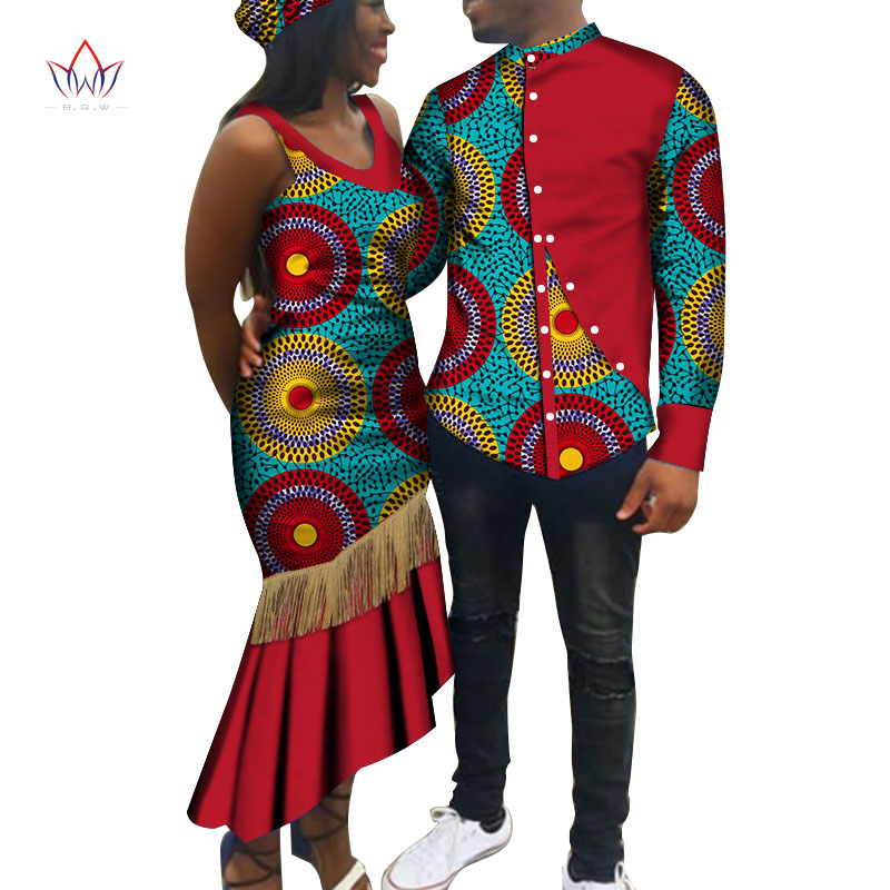 African Print Clothes For Couple Dashiki Elegant Lassel Lady Party Dresses And Men Shirts Cotton African Clothing WYQ446