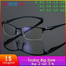 Gafas de miopía para hombre con marco de Metal SAOIOAS, gafas no esféricas de 12 capas, gafas Vintage miopía de negocios, 1,0, 2,0, 6,0,