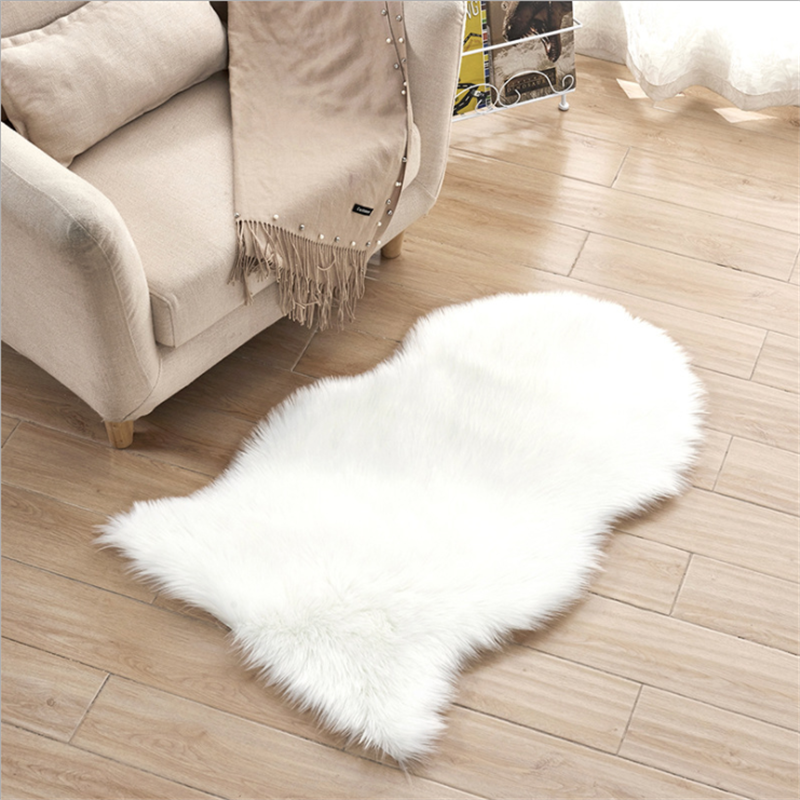 Fur Faux Artificial Wool Sheepskin Living Room Bedroom Soft Area Mat Shaggy Anti-skid Carpet Seat Pad Long Hair Fluffy Rug A008D