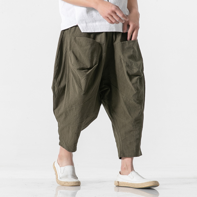 MR-DONOO Spring Autumn Men's Cotton Sankle-length Trousers  Causal Haren Pants
