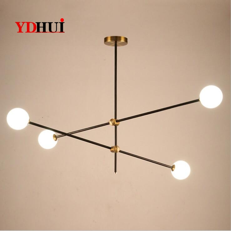 Nordic minimalist magic bean glass chandelier led post-modern geometric line brass color dining room living room lamps.