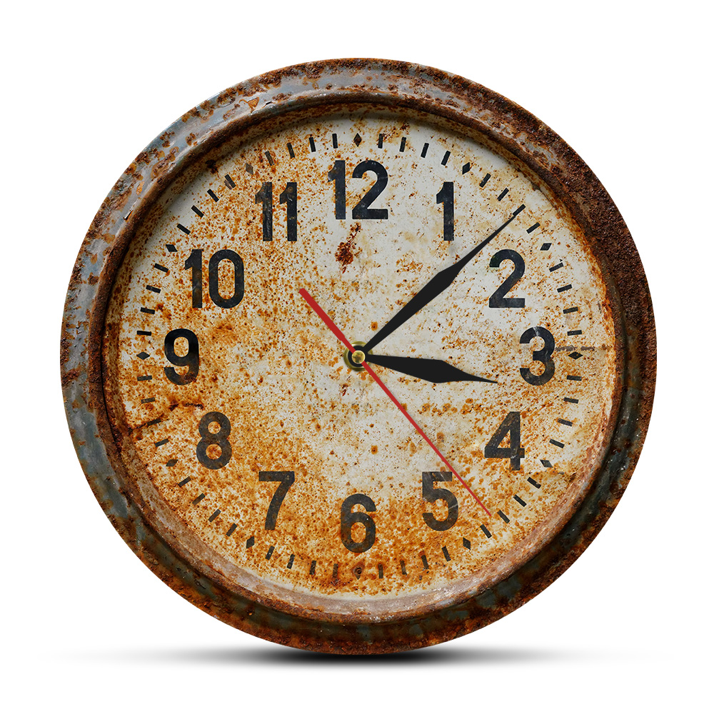 Retro Rusty Old Wall Clock 3D Illusion Printed Acrylic Wall Clock Living Room Primitive Timepiece Art Decor Hanging Wall Watch