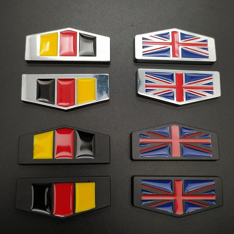 2Pcs 3D Metal German United Kingdom Flag Car Body Side Fender Rear Trunk Emblem Badge for Volkswagen Audi Bmw Mercedes Benz