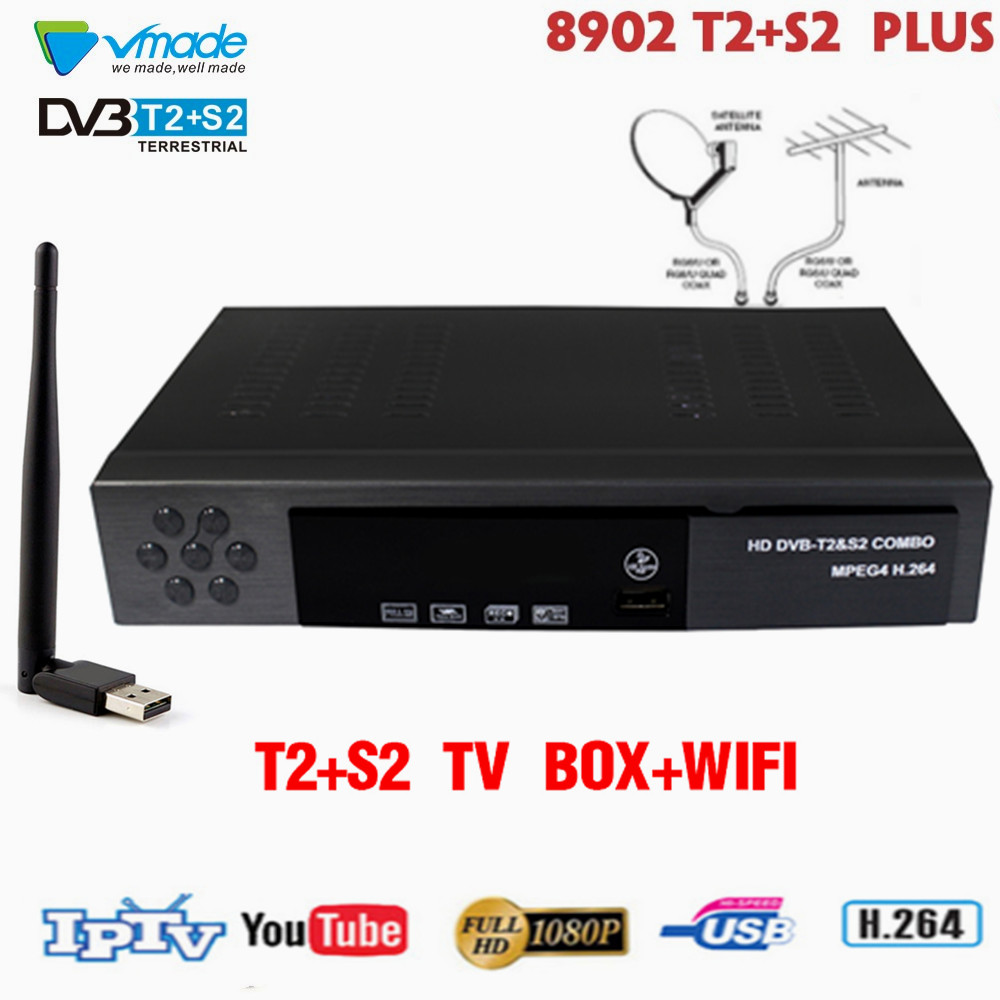 Vmade Dvb-t2 Dvb-s2 Digital Satellite Terrestrial Receiver Combo HD Dvb T2 S2 Tv Box H.264 MPEG-4 1080p Standard Set Top Box