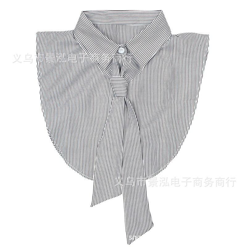 Black And White Thin Stripe Underwear Fake Collar Shirt Collar Wear Tie Small Clothes