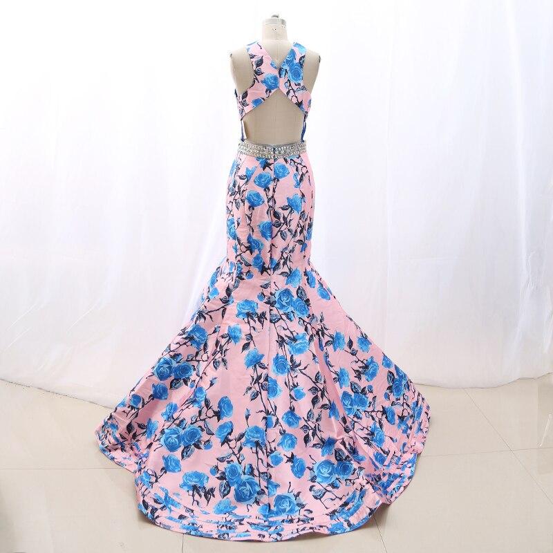 MACloth Pink Mermaid Halter Floor Length Long Crystal Satin Prom Dresses Dress M 268320 Clearance - 2